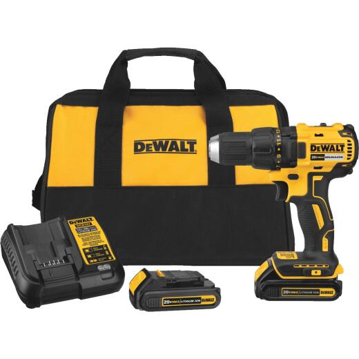 DeWalt 20 Volt MAX Lithium-Ion Brushless 1/2 In. Compact Cordless Drill Kit