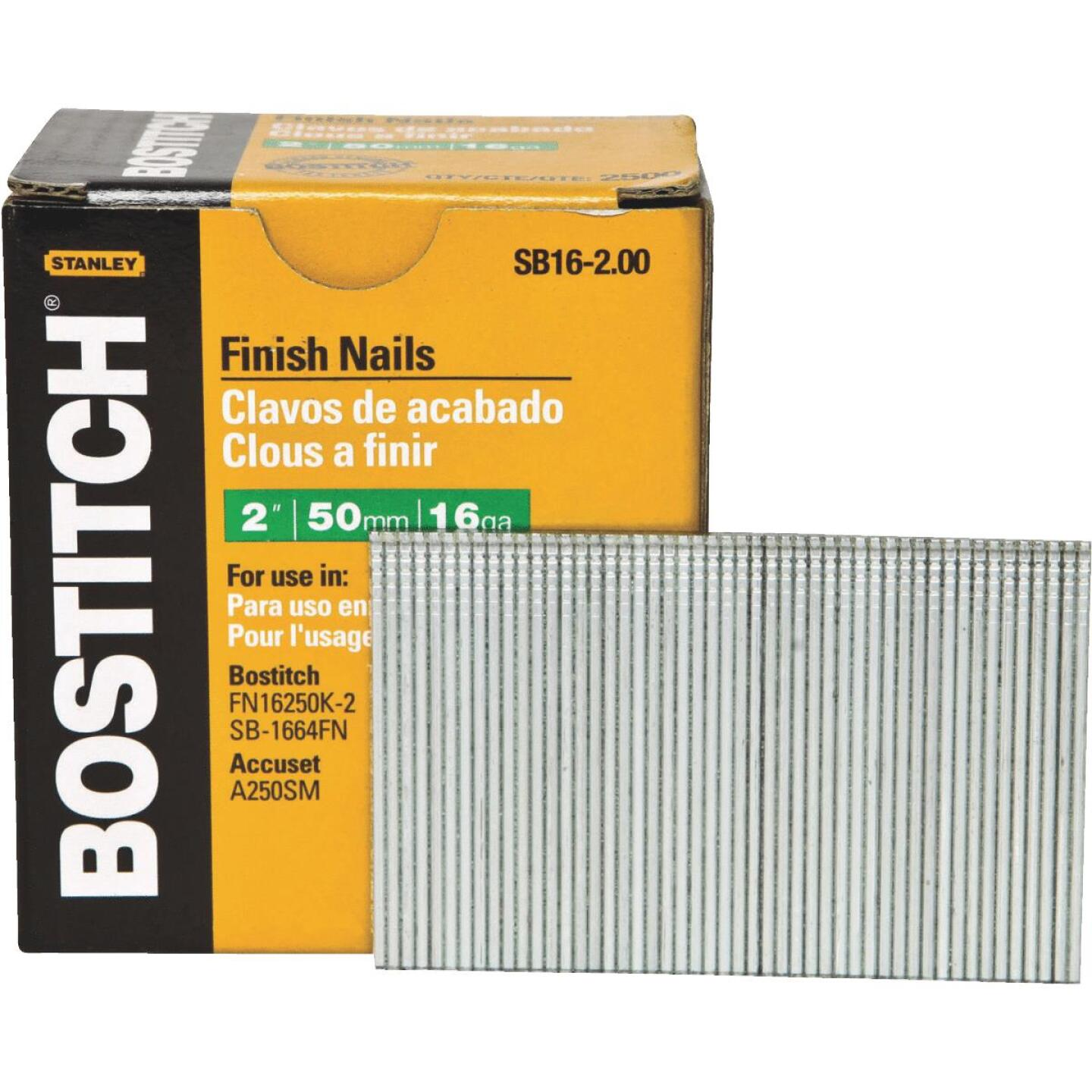 Bostitch 16-Gauge Coated Straight Finish Nail, 2 In. (2500 Ct.) Image 1
