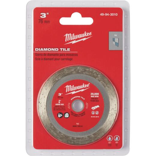 Milwaukee 3 in. Turbo Rim Dry/Wet Cut Tile Diamond Blade