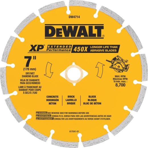 MK Diamond Contractor Plus 7 In. Segmented Rim Dry/Wet Cut Diamond Blade