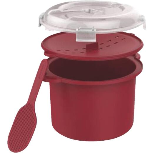 Good Cook 3 Cup Plastic Red Microwave Rice Steamer