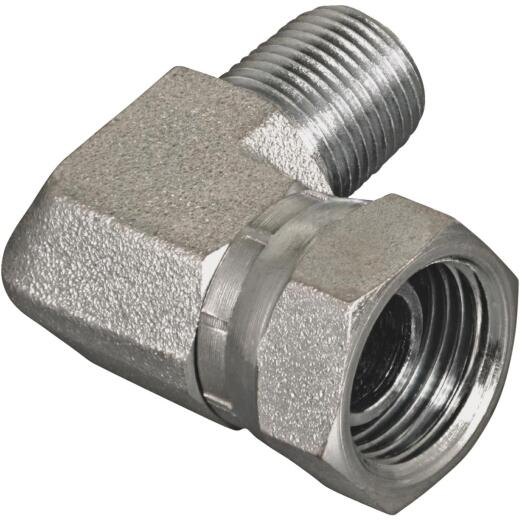 Apache 3/8 In. Male Pipe x 3/8 In. Female Pipe Swivel 90 Deg. Hydraulic Hose Adapter