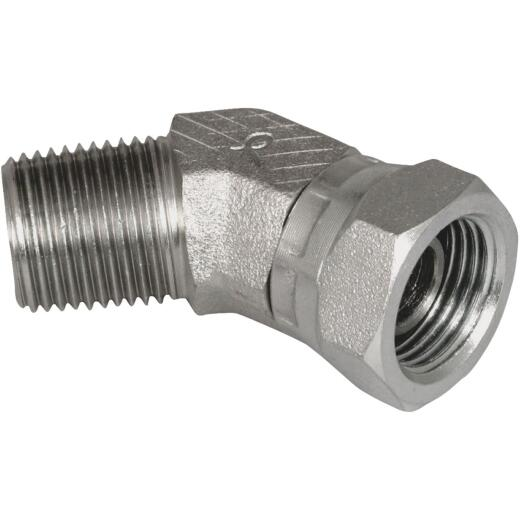 Apache 1/2 In. Male Pipe x 1/2 In. Female Pipe Swivel 45 Deg. Hydraulic Hose Adapter