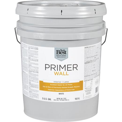 Do it Best Interior Latex Wall Primer, White, 5 Gal.